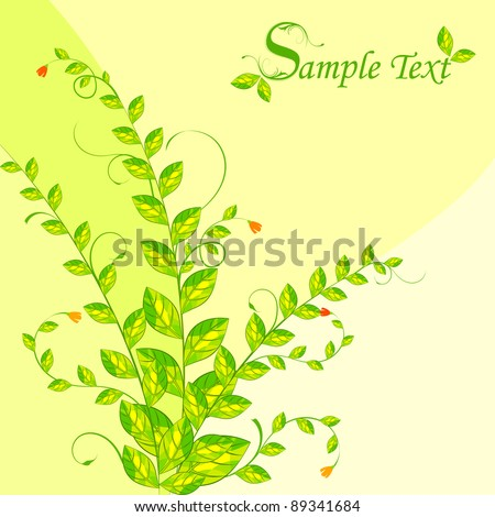 illustration of fresh green plant on abstract background - stock vector