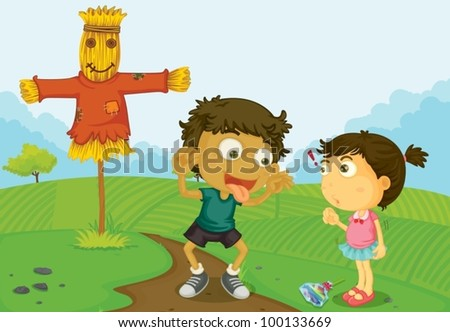 Illustration of friends at a farm - stock vector