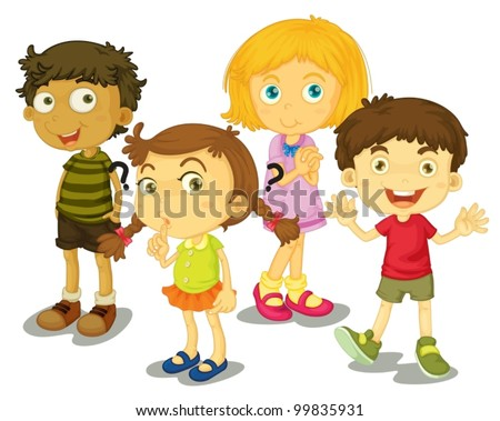 Illustration of 4 friends isolated - stock vector