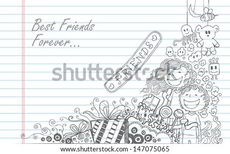 illustration of Friendship Day doodle in sketchy look - stock vector