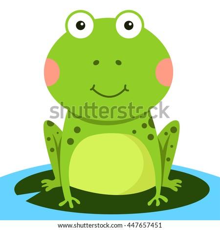 Illustration of frog smile - stock vector
