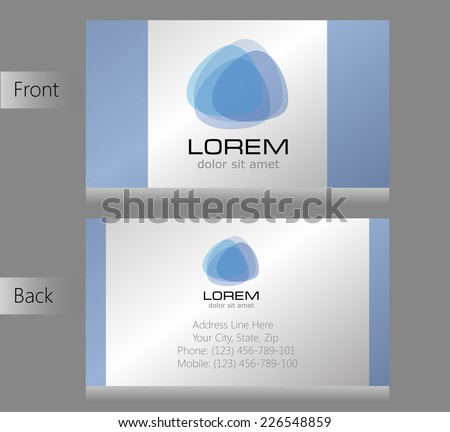 illustration of front and back of corporate business card - stock vector