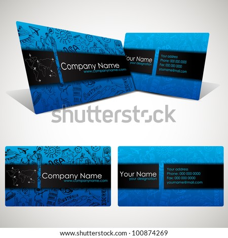 illustration of front and back of corporate business card for travel company - stock vector