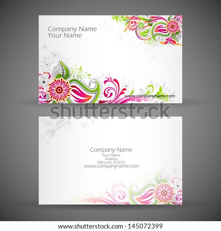 illustration of front and back of corporate business card with floral design - stock vector