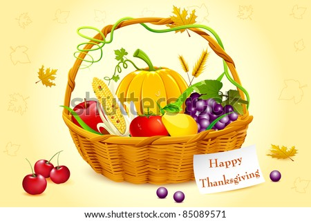illustration of fruits and vegetable in basket with tag for thanksgiving - stock vector