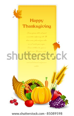 illustration of fruits and vegetable in cornucopia on old paper card for thanksgiving - stock vector