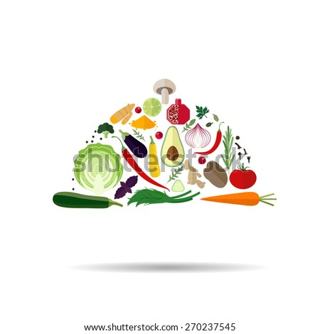 Illustration of fruits and vegetables in a shape of kitchen ram. - stock vector