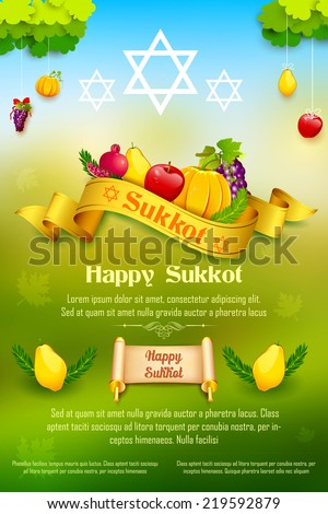 illustration of fruits hanging for Jewish festival Happy Sukkot - stock vector