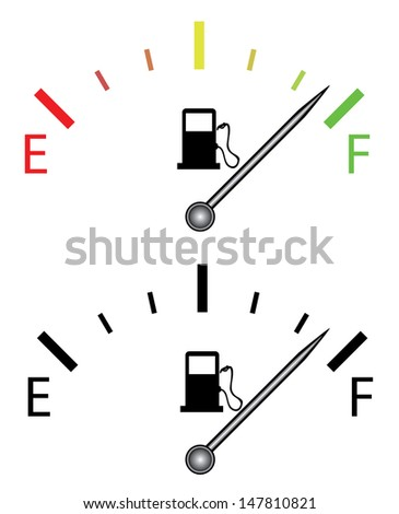 Illustration of fuel gauge, over white background. Isolated vector illustration.  - stock vector