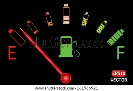 Illustration of fuel gauge with colorful batteries, on black background. Abstract fuel gauge with red indicator and vibrant color batteries. Isolated, easy to edit vector illustration.  - stock vector
