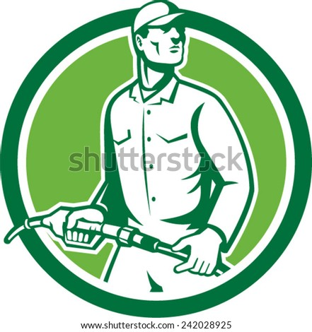 Illustration of fuel jockey gasoline attendant worker holding fuel pump nozzle looking to the side set inside circle on isolated background done in retro style. - stock vector