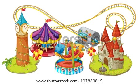 illustration of fun fair games on a white background - stock vector