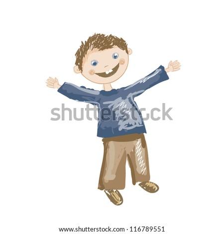 Illustration of funny boy sketch - stock vector