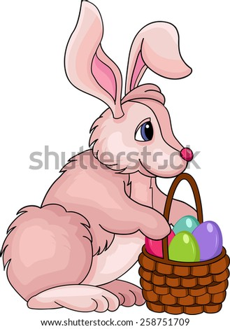 Illustration of funny bunny with basket on white background