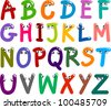 illustration of funny Capital Letters Alphabet for education - stock vector