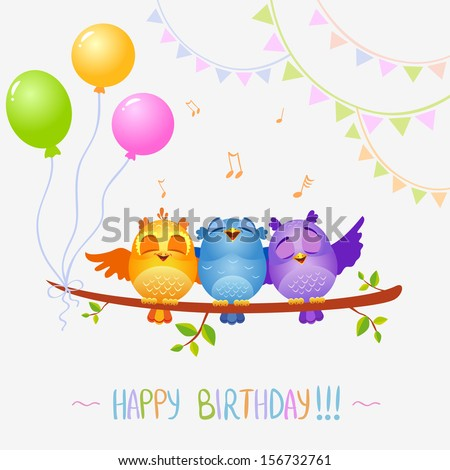illustration of funny characters birds sing Happy Birthday - stock vector