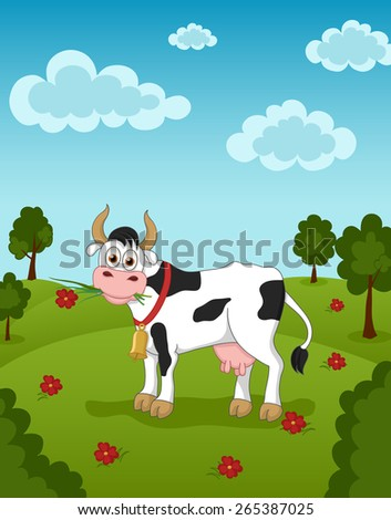 Illustration of funny cow eating grass and flower - stock vector
