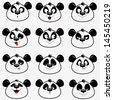 illustration of funny emoticons panda - stock