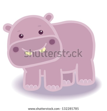 Illustration of funny fat cartoon hippo