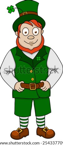 Illustration of funny leprechaun in vest on white background