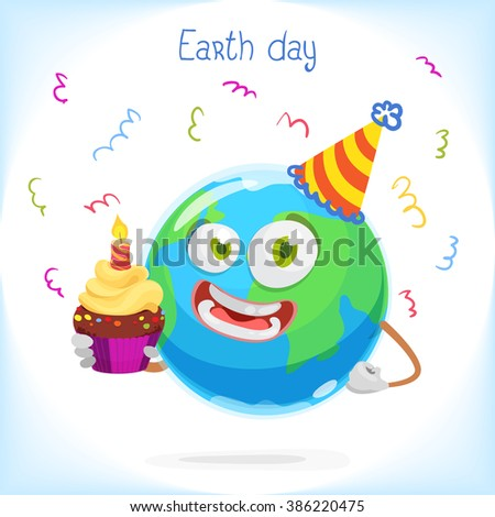Illustration of funny mascot earth celebrates birthday