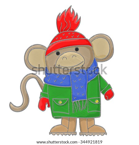Illustration of funny monkey in winter clothes, stylized embroidery thread