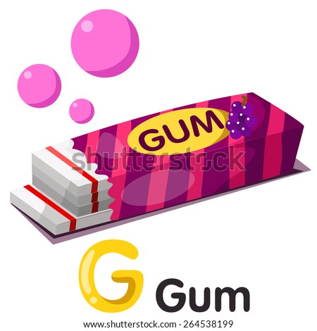 Illustration of g font with gum  - stock vector