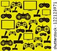 illustration of game controls, Video games Silhouettes, vector illustration - stock photo