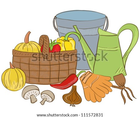 Illustration of garden tools and harvest basket with vegetable - sketch style - stock vector