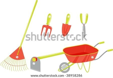 illustration of garden tools on white - stock vector