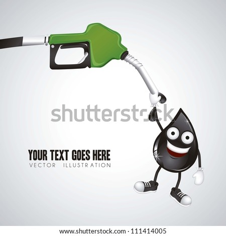illustration of gasoline dispenser hanging oil drop, vector illustration - stock vector