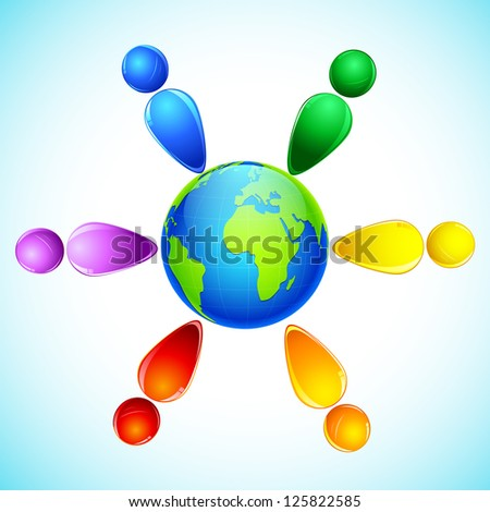 illustration of gay people standing around the world - stock vector