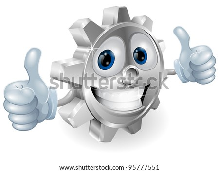 Illustration of gear cartoon character giving thumbs up cartoon character