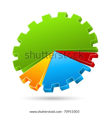 illustration of gear shape pie chart on isolated background - stock vector