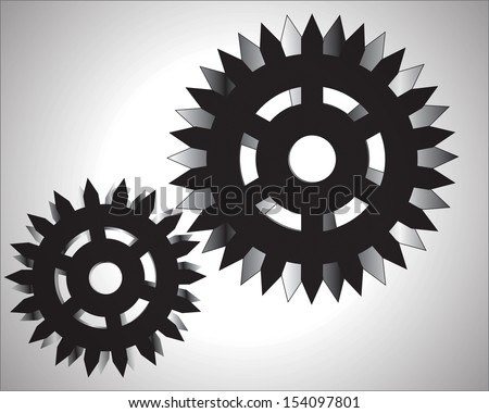 illustration of gear wheels system over white background
