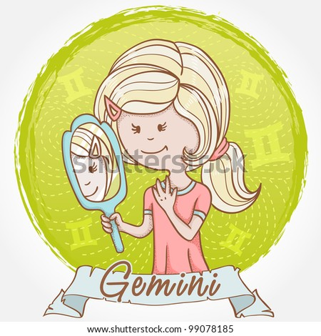 Illustration of Gemini zodiac sign in cute cartoon style as a girl with a mirror and reflection twins