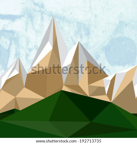 Illustration of geometric polygonal landscape with mountains - stock vector