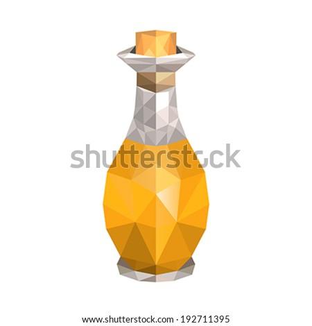 Illustration of geometric polygonal oil bottle - stock vector