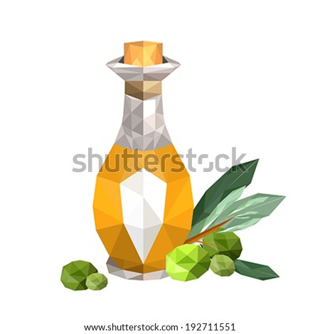 Illustration of geometric polygonal olive oil bottle with olives and leaves - stock vector