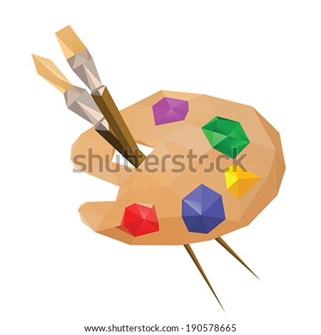 Illustration of geometric polygonal painting palette with paintbrushes - stock vector