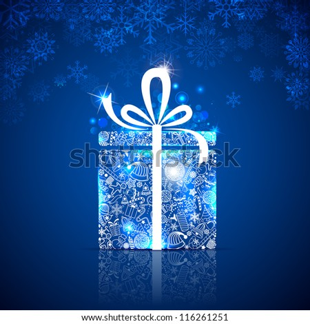illustration of gift box made of different christmas element - stock vector