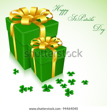 illustration of gift boxes for Saint Patrick's Day with clove leaves - stock vector