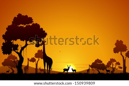 illustration of giraffe and deer in jungle - stock vector