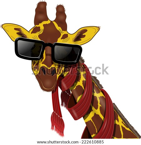 illustration of giraffe in a red scarf and sunglasses - stock vector