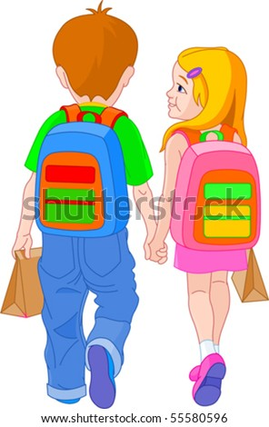 Illustration of girl and boy go to school - stock vector