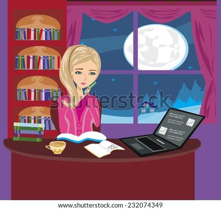 illustration of girl doing homework  - stock vector