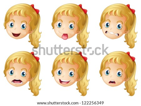 Illustration of girl faces on a white background - stock vector