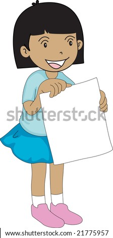 Illustration of girl holding a blank sign