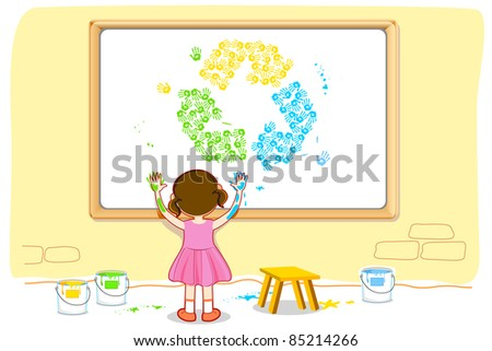 illustration of girl painting recycle symbol on board - stock vector