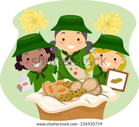 Illustration of Girl Scouts Selling Girl Scout Cookies - stock vector